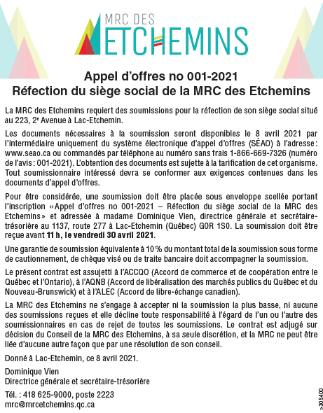 Appel d'offre réfection siège social de la MRC